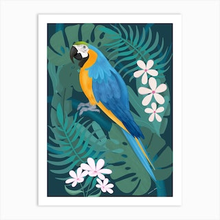 Blue And Gold Macaw Parrot With Tropical Leaves Art Print