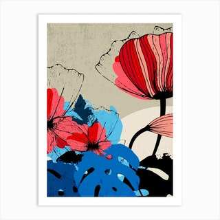 Flowers And Blue Monstera Leaves Art Print