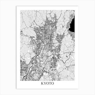 Kyoto White Black Art Print