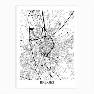Bruges White Black Art Print