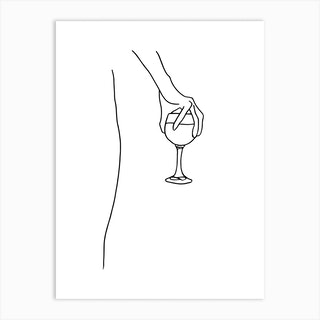Holding Wine Glass Lineart Art Print