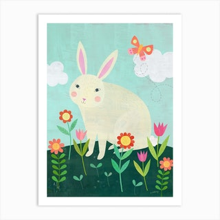 White Rabbit In The Garden Art Print