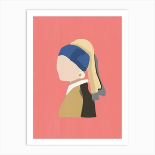 Girl With Pearl Earring Pink Art Print
