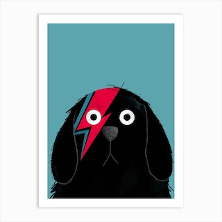 Dog Bowie Black Art Print