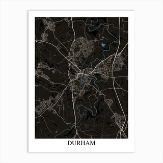Durham Black Blue Art Print