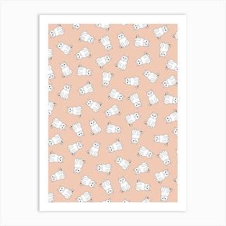 White Cat Pattern On Blush Pink Art Print