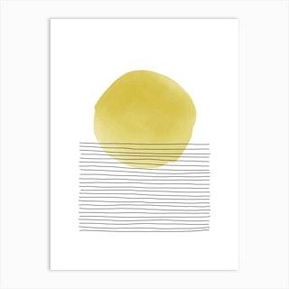 Yellow And Grey Sunset Art Print
