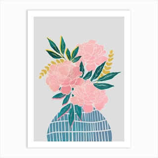 Peony Flowers In Blue Vase Art Print