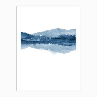Watercolor Landscape 14 Navy Blue Art Print