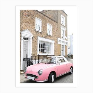 Pink Car London Art Print