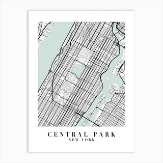 Central Park New York Street Map Minimal Color Art Print