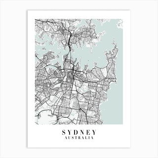 Sydney Australia Street Map Minimal Color Art Print