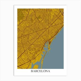 Barcelona Yellow Blue Art Print