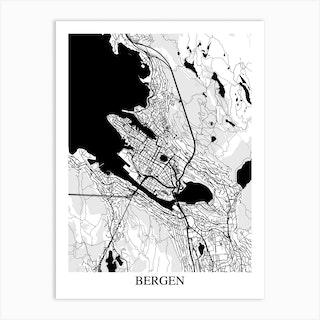 Bergen White Black Art Print