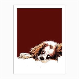 Meg The Cavalier Spaniel On Red Oxide Art Print