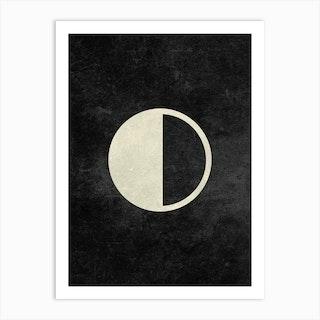 Minimal Quarter Moon Phase In Charcoal Art Print