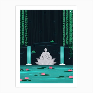 Buddha In A Lily Pond Art Print