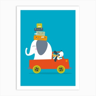 Elephant And Dog Go On An Adventure Art Print