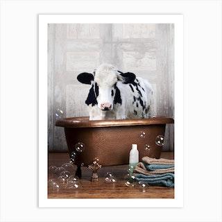 Cow In A Bathtub Art Print