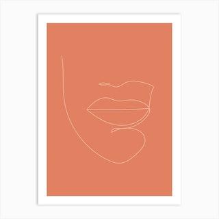 Lips Line Art Art Print