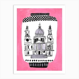 St Pauls Cathedral Pink Art Print