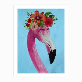Frida Kahlo Flamingo Art Print