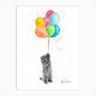 The Naughty Kitten And The Balloons Art Print