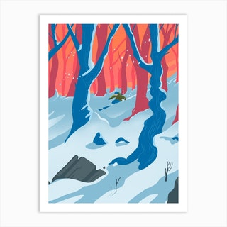 Off Piste Fresh Powder  Ski Art Print