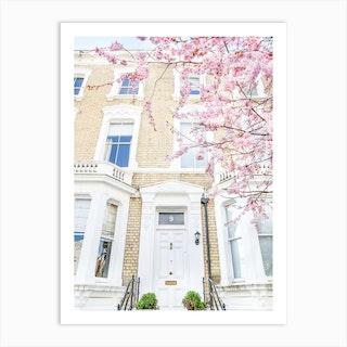 Pink White London Springtime Art Print