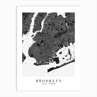 Brooklyn New York Minimal Black Mono Street Map  Art Print