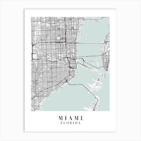 Miami Florida Street Map Minimal Color Art Print