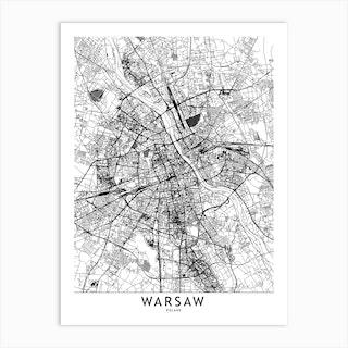 Warsaw White Map Art Print