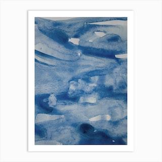 Sea Blue Abstract Aquarelle 2 Art Print