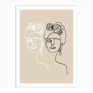 Frida Kahlo Double Beige Art Print