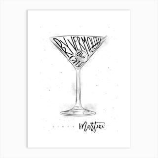 Dirty Martini White Background Art Print