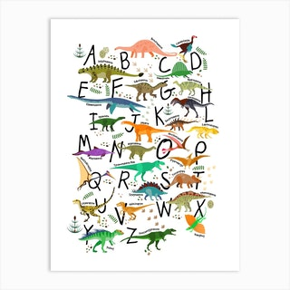 Colourful Dinosaur Alphabet Art Print