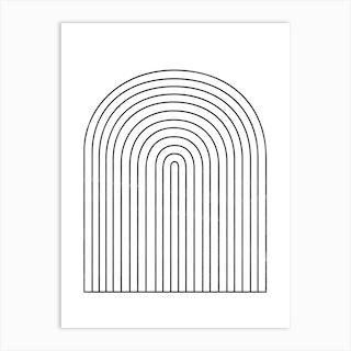 Monochrome Geometric Arches Art Print