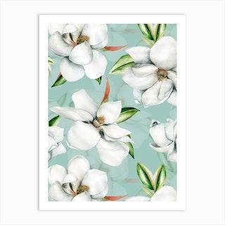 White Magnelia Blossoms Art Print