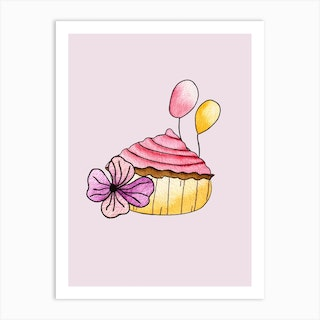 Pink Strawberry Cupcake Art Print