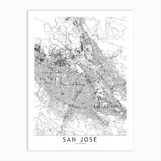 San Jose White Map Art Print