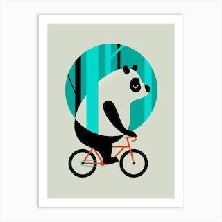 Panda Ride Art Print