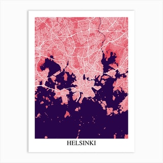 Helsinki Pink Purple Art Print