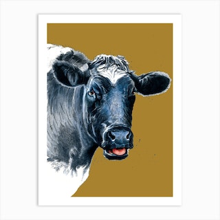 The Cow On Burnt Gold Art Print