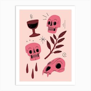 Skulls And Wine Red Art Print