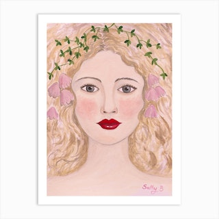 Woman Portrait With Pink Flowers Art Print