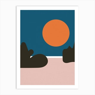 Beach Abstract Full Moon Art Print
