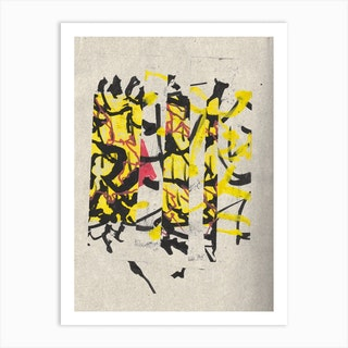 Yellow And Black Collage 1 Art Print