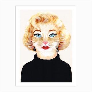 Marilyn Monroe Cat Art Print