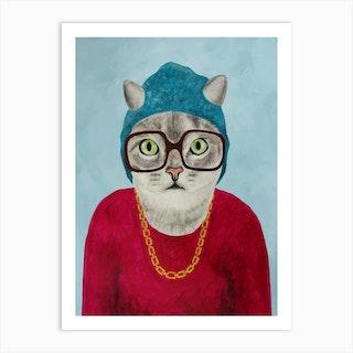 Rapper Cat Art Print
