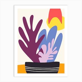 Potted Purple Succulents Art Print